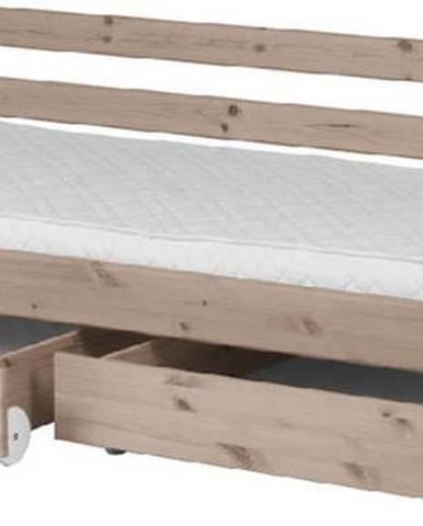 Hnědá dětská postel z borovicového dřeva s 2 zásuvkami Flexa Classic, 90x200cm