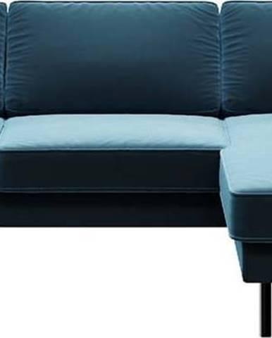 Modrá sametová rohová pohovka MESONICA Kobo, pravý roh