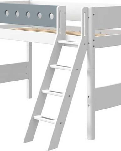 Modro-bílá dětská postel s žebříkem Flexa White, výška 143 cm