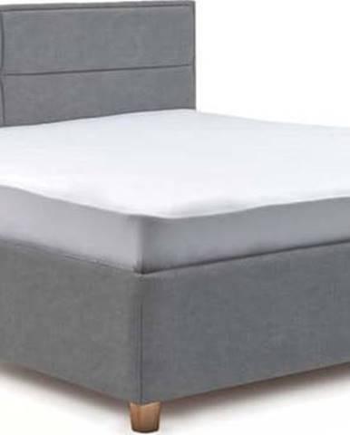 Modrošedá dvoulůžková postel s roštem a úložným prostorem ProSpánek Grace, 160 x 200 cm