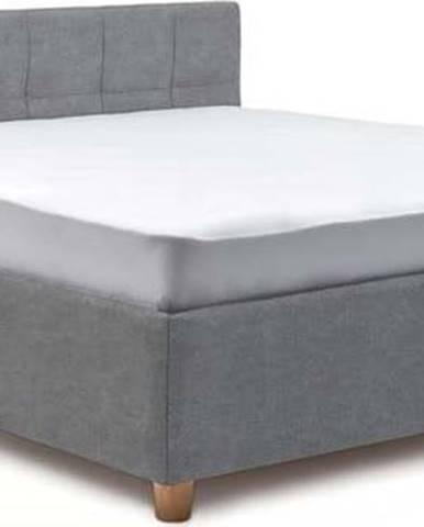 Modrošedá dvoulůžková postel s úložným prostorem ProSpánek Leda, 180 x 200 cm