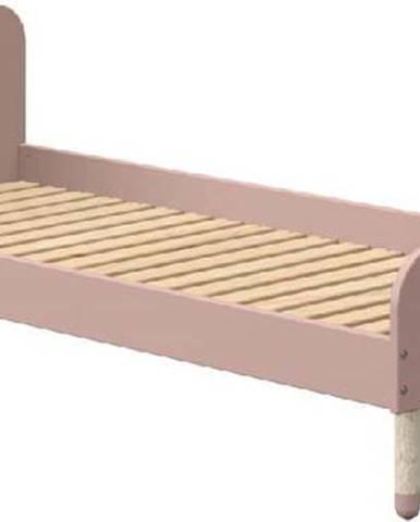 Růžová dětská postel Flexa Dots, 90 x 190 cm