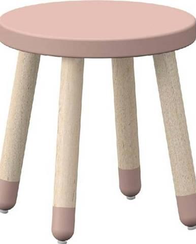 Růžová dětská stolička s nohami z jasanového dřeva Flexa Dots, ø 30 cm