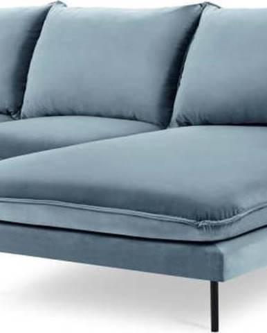 Světlé modrá sametová rohová pohovka Cosmopolitan Design Vienna, pravý roh