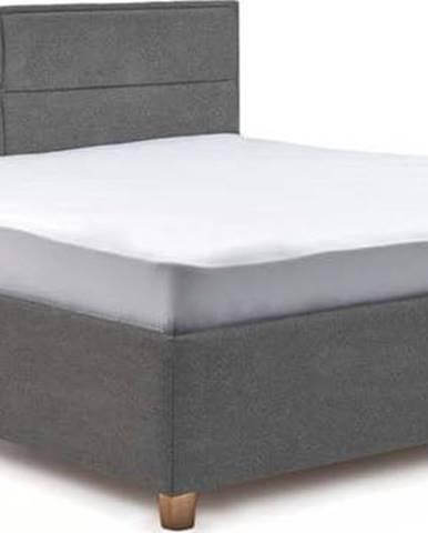 Světle šedá dvoulůžková postel s úložným prostorem ProSpánek Grace, 180 x 200 cm