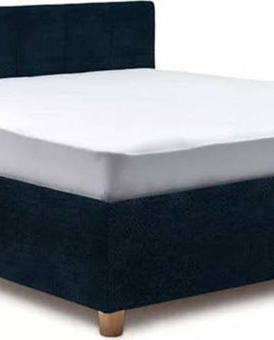 Tmavě modrá dvoulůžková postel s roštem a úložným prostorem ProSpánek Leda, 160 x 200 cm