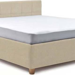Béžová dvoulůžková postel s roštem a úložným prostorem ProSpánek Leda, 180 x 200 cm
