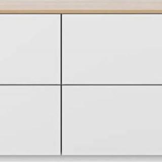 Bílá komoda s šuplíky a deskou v dubovém dekoru TemaHome Join, 120 x 54 cm