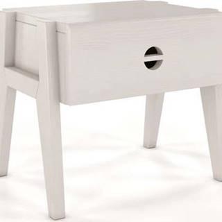 Bílý noční stolek z borovicového dřeva se zásuvkou Skandica Visby Radom