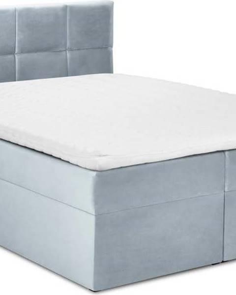 Mazzini Beds Bledě modrá sametová dvoulůžková postel Mazzini Beds Mimicry,200x200cm