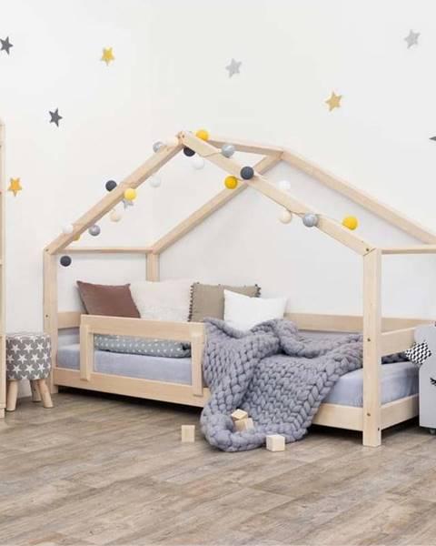 Benlemi Dřevěná dětská postel domeček s bočnicí Benlemi Lucky, 120 x 200 cm