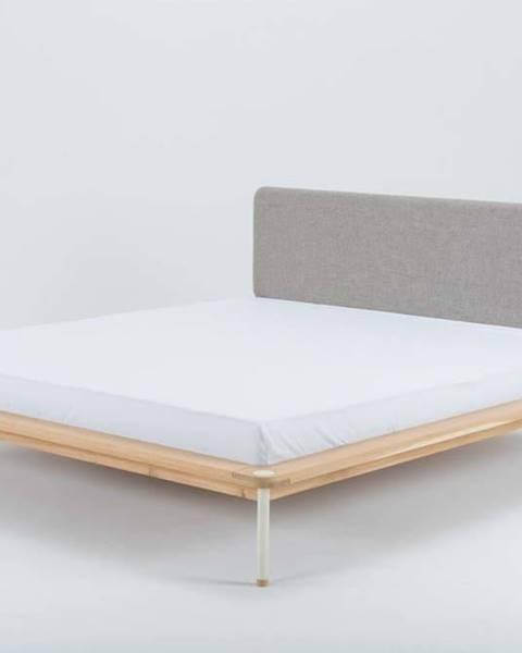 Gazzda Dvoulůžková postel z dubového dřeva Gazzda Fina, 140 x 200 cm