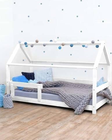 Bílá dětská postel s bočnicí ze smrkového dřeva Benlemi Tery, 80 x 180 cm