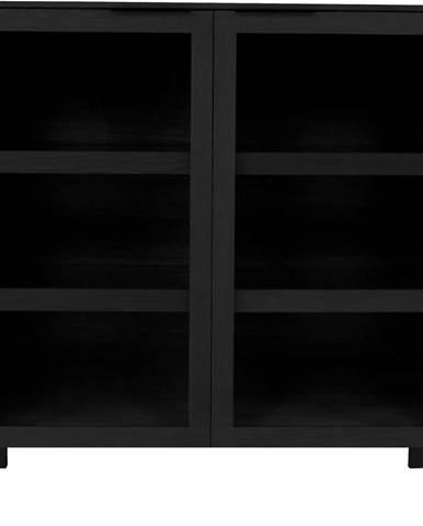 Černá prosklená komoda z dubového dřeva Canett Soho, výška 134 cm