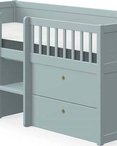 Modrá dětská postel z borovicového dřeva se zásuvkami Flexa