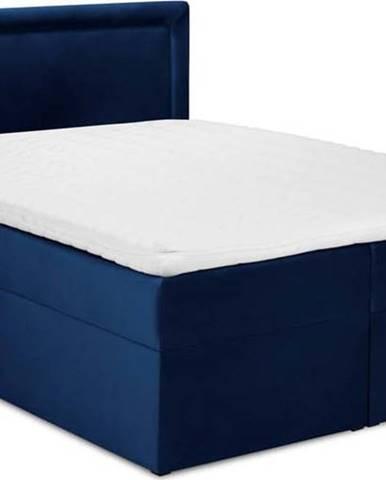 Modrá sametová dvoulůžková postel Mazzini Beds Yucca,180x200cm