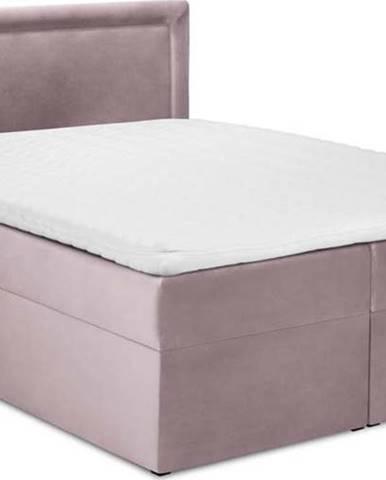 Růžová sametová dvoulůžková postel Mazzini Beds Yucca,160x200cm