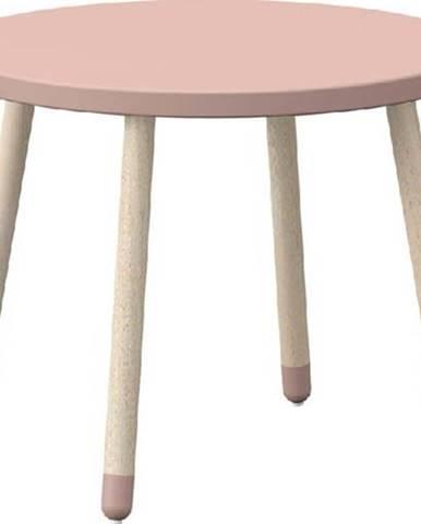 Růžový dětský stolek s nohami z jasanového dřeva Flexa Dots, ø 60 cm