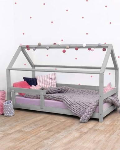 Šedá dětská postel s bočnicí ze smrkového dřeva Benlemi Tery, 90 x 200 cm