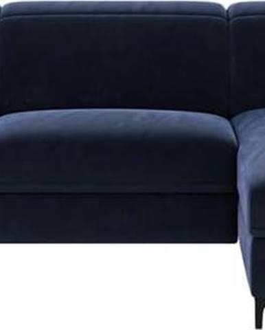 Tmavě modrá sametová polohovací rohová pohovka Mesonica Brito, pravý roh