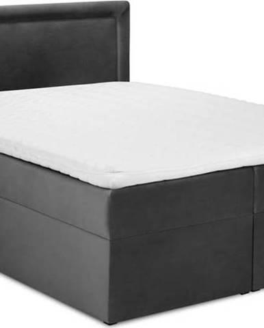 Tmavě šedá sametová dvoulůžková postel Mazzini Beds Yucca,200x200cm