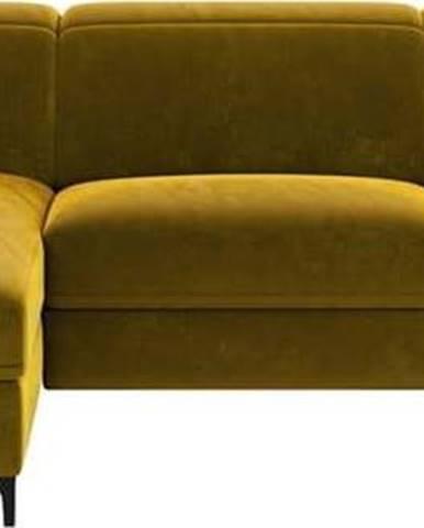 Žlutá sametová polohovací rohová pohovka Mesonica Brito, levý roh