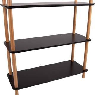 Černý regál s bambusovými nohami Leitmotiv Cabinet Simplicity, 80 x 82.5 cm