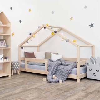 Dřevěná dětská postel domeček s bočnicí Benlemi Lucky, 120 x 200 cm