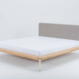 Dvoulůžková postel z dubového dřeva Gazzda Fina, 140 x 200 cm