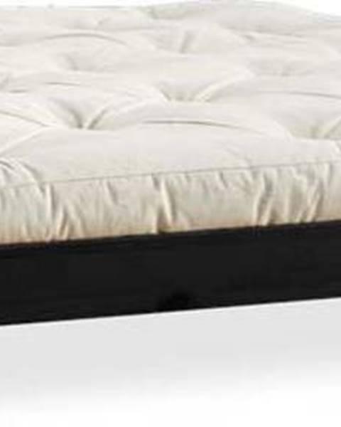 Karup Design Dvoulůžková postel z borovicového dřeva s matrací Karup Design Elan Comfort Mat Black/Natural, 180 x 200 cm
