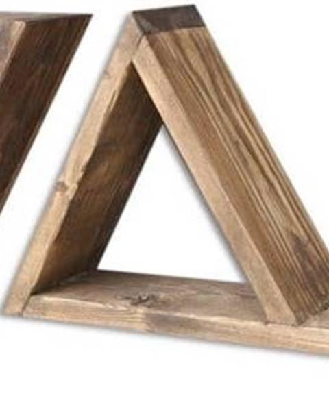 Evila Originals Sada 2 dřevěných nástěnných polic Triangles