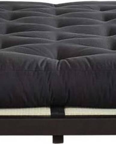 Dvoulůžková postel z borovicového dřeva s matrací a tatami Karup Design Dock Double Latex Black/Black, 140 x 200 cm