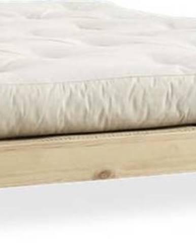 Dvoulůžková postel z borovicového dřeva s matrací a tatami Karup Design Elan Double Latex Natural Clear/Natural, 160 x 200 cm