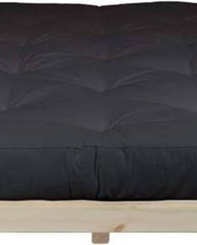 Dvoulůžková postel z borovicového dřeva s matrací Karup Design Dock Double Latex Natural Clear/Black, 160 x 200 cm