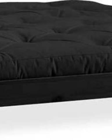 Dvoulůžková postel z borovicového dřeva s matrací Karup Design Elan Comfort Mat Black/Black, 140 x 200 cm