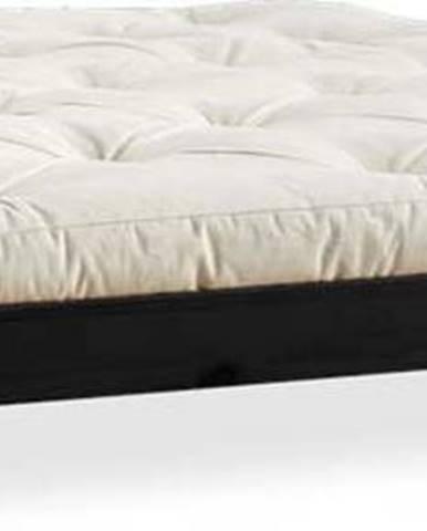 Dvoulůžková postel z borovicového dřeva s matrací Karup Design Elan Comfort Mat Black/Natural, 180 x 200 cm