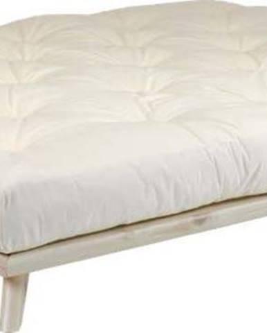 Dvoulůžková postel z borovicového dřeva s matrací Karup Design Senza Comfort Mat Natural Clear/Natural, 140 x 200 cm