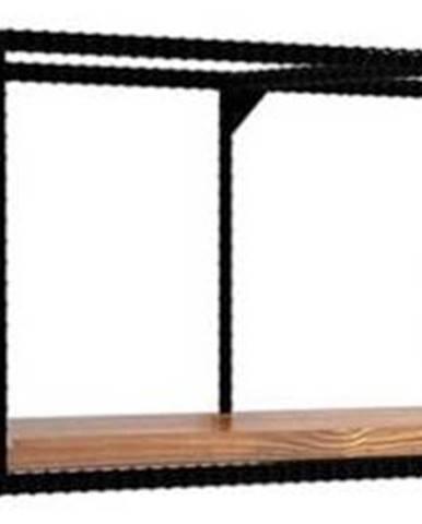 Nástěnná police sdeskou ztmavého ořechového dřeva Miray, délka120cm