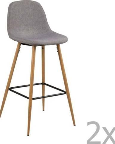 Sada 2 světle šedých barových židlí Actona Wilma