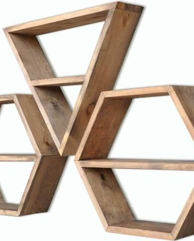 Sada 3 dřevěných nástěnných polic Hexa
