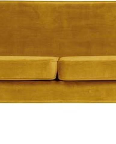 Žlutá sametová pohovka WOOOD Rocco, 230 cm