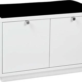 Bílá lavice s úložným prostorem a s černým sedákem Rowico Confetti, šířka 70cm
