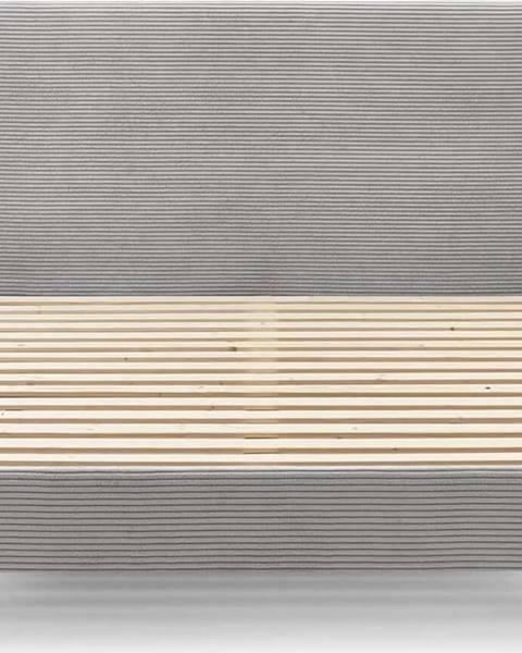 Bobochic Paris Šedá manšestrová dvoulůžková postel Bobochic Paris Anja Light, 180 x 200 cm