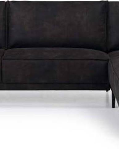 Antracitově šedá rohová pohovka z imitace kůže Scandic Copenhagen, pravý roh
