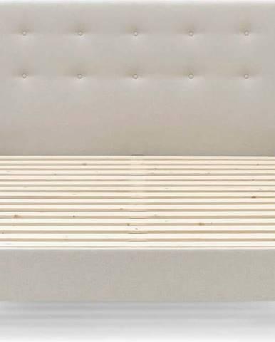 Béžová dvoulůžková postel Bobochic Paris Rory Dark, 160 x 200 cm