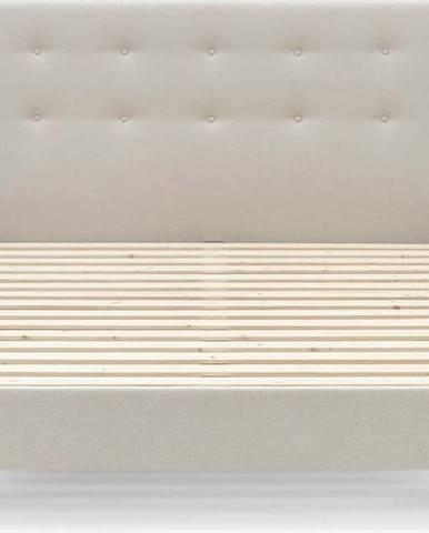 Béžová dvoulůžková postel Bobochic Paris Rory Light, 160 x 200 cm