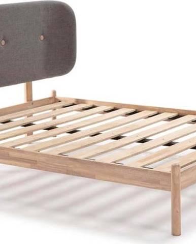 Dřevěná postel s tmavě šedým čelem Marckeric Ellie,140x190cm