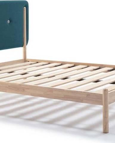 Dřevěná postel s tyrkysově modrým čelem Marckeric Annie,160x200cm