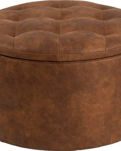 Koňakově hnědý puf z imitace kůže Actona Retina, ⌀ 60 cm