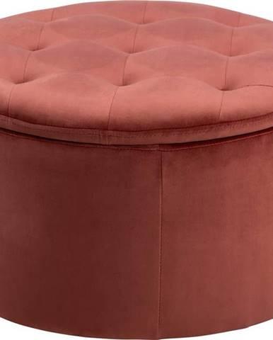 Korálově růžový sametový puf Actona Retina, ⌀ 60 cm